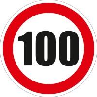 Indicator semnalizare Limitare viteza 100, autocolant, diametru 12 cm