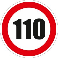 Indicator semnalizare Limitare viteza 110, autocolant, diametru 12 cm