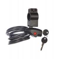 Cablu antifurt bicicleta, cu cheie si suport prindere sub sa, 180 cm