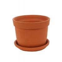 Ghiveci ceramic N 3 cu suport, teracota, rotund, 21 x 17 cm