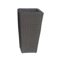 Ghiveci din metal + plastic cu finisaj ratan sintetic PLTP-1390/21157, patrat, negru 30 x 30 x 55 cm