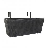 Jardiniera PVC cu finisaj ratan sintetic 7390500, interior/exterior, negru, 47 x 19.5 x 19 cm