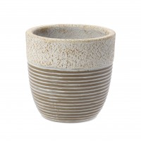 Ghiveci ceramic UD15020/350384, crem, rotund, 24 x 24 cm