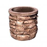 Ghiveci beton Rustic, rotund, exterior, 38 x 37 cm