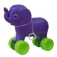 Jucarie de tras, pentru copii, elefant, din plastic, diverse culori, 23 x 12 x 22 cm