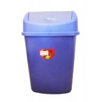 Cos gunoi Plastina Lotus din plastic, forma dreptunghiulara, albastru, cu capac batant, 55L