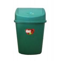 Cos gunoi Plastina Lotus din plastic, forma dreptunghiulara, verde, cu capac batant, 55L
