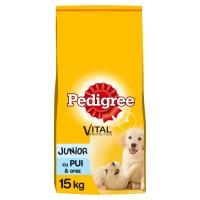 Hrana uscata pentru caini de talie medie, Pedigree Vital Protection, junior, carne de pui si orez, 15kg