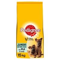 Hrana uscata pentru caini de talie mare, Pedigree Vital Protection, junior, carne de pui si orez, 15kg