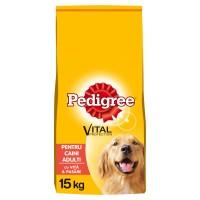 Hrana uscata pentru caini Pedigree Vital Protection, adult, carne de vita si pasare, 15kg