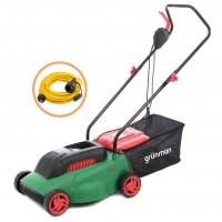 Pachet masina de tuns iarba, electrica Grunman LM-PT 106 1300 W + prelungitor cu fisa si cupla, contact de protectie, 5 m