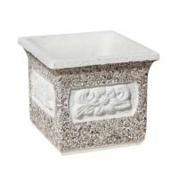 Ghiveci din beton VG203, model cu flori, alb cu piatra natur, patrat, pentru exterior, 35 x 35 x 35 cm