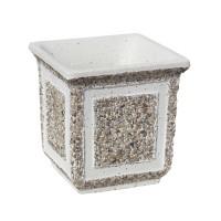 Ghiveci din beton VG206, alb cu piatra natur, patrat, pentru exterior27 x 27 x 28 cm