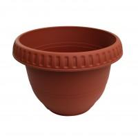 Ghiveci din plastic, Bungaloo, rotund, maro, D 34 cm