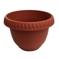 Ghiveci din plastic, Bungaloo, rotund, maro, D 42 cm
