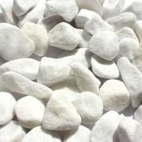 Marmura decorativa naturala anticata rotunjita, interior / exterior, alba, 15-25 mm, 20 kg