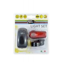 Kit lampa pentru bicicleta Good Bike, 5 leduri, lumina alba fata + lumina rosie spate