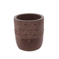 Ghiveci ceramic 350389, maro, rotund, 23 x 25 cm