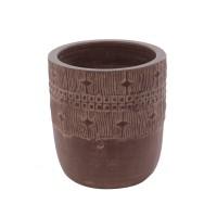 Ghiveci ceramic 350389, maro, rotund, 18 x 20 cm