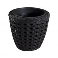 Ghiveci din plastic cu finisaj ratan sintetic 221-0700, negru D 39 cm