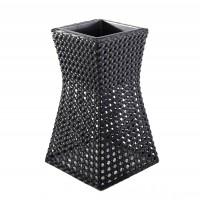 Ghiveci din plastic cu finisaj ratan sintetic 221-0707-M, negru 38 x 38 cm