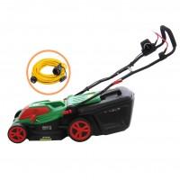 Pachet masina de tuns iarba, electrica Grunman C3811 1600 W + prelungitor cu fisa si cupla, contact de protectie, 5 m