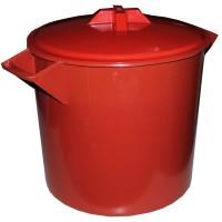 Butoi / cada plastic Agora Plast, cu capac, 25 litri, negru, verde D 36 cm