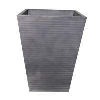 Ghiveci metalic DHH004G, gri, patrat, 31 x 31 x 41 cm