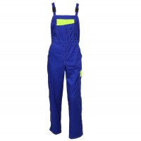 Pantaloni pieptar Kora, bumbac + poliester, albastru + galben, marimea 52