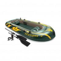 Set barca gonflabila / pneumatica Intex 68351NP Seahawk 4, pentru 4 persoane, 351 x 145 x 48 cm + vasle