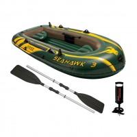 Set barca gonflabila / pneumatica Intex 68380NP Seahawk 3, pentru 3  persoane +  vasle + pompa