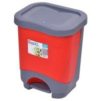 Cos gunoi Agora Plast Eko 8 din plastic, forma dreptunghiulara, diverse culori, cu pedala si capac batant, 8L