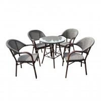 Set masa rotunda, cu 4 scaune, pentru gradina Bistro HHTX0317, din metal cu material textil