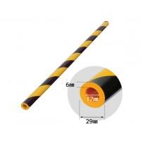 Banda protectie moale din spuma de cauciuc AC-130, cilindrica, dungi negru / galben, grosime 6 mm, D 17 mm, 90 cm