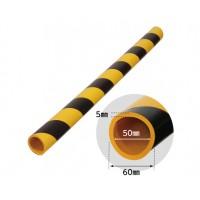 Protector moale din spuma de cauciuc AC-107, cilindrica, dungi negre / galbene, grosime 5 mm, D 50 mm, 90 cm