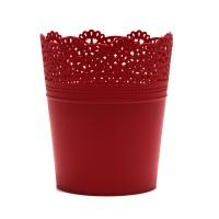 Ghiveci din plastic Lace, rosu D 14 cm