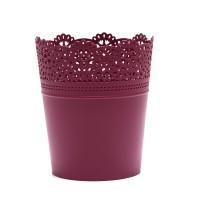 Ghiveci din plastic Lace, fucsia D 14 cm