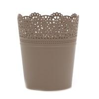Ghiveci din plastic Lace, mocca D 14 cm