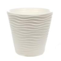 Ghiveci din plastic Wave, alb D 49 cm