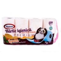 Hartie igienica Misavan, celuloza, 3 straturi, alba, lemon, 8 role
