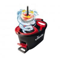 Mop microfibra Easy Wring & Clean Turbo + coada telescopica + galeata cu separator + pedala cu sistem stoarcere 360 + orificiu scurgere, H = 130 cm