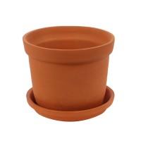 Ghiveci ceramic N 2 cu suport, teracota, rotund, 18 x 15 cm