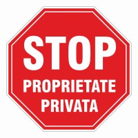 Indicator proprietate privata Creative sign, PVC, forma octogonala, inaltime 37 cm