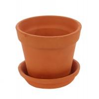 Ghiveci ceramic N 0 cu suport, teracota, rotund, 13 x 11 cm