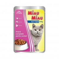 Hrana umeda pentru pisici, Miau Miau Kitten, junior, carne de pui, 100g