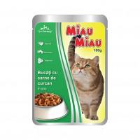 Hrana umeda pentru pisici, Miau Miau, adult, carne de curcan, 100g
