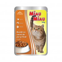 Hrana umeda pentru pisici, Miau Miau, adult, carne de pui si ficat, 100g