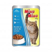 Hrana umeda pentru pisici, Miau Miau, adult, somon, 100g