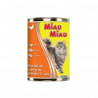 Hrana umeda pentru pisici, Miau Miau, adult, carne de pui, 415g
