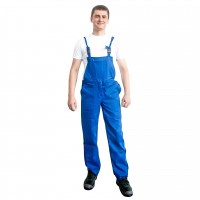 Pantaloni pentru protectie DCT Vito, pieptar, 240 g/mp, albastru, 52